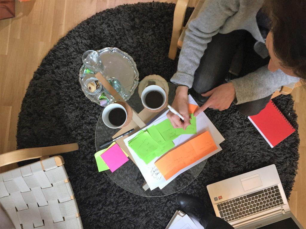 Vi dricker kaffe och arbetar med målformulering.